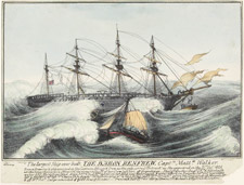Lithographie intitulée THE LARGEST SHIP EVER BUILT, THE BARON RENFREW, 1825