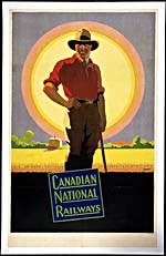 Poster of the Canadian National Railways, 1925, with a colour illustration of a cowboy standing in a field