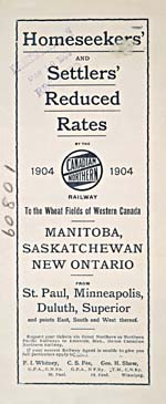 Brochure of the Canadian Northern Railway, 1904, advertising reduced rates for new settlers