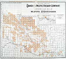 Map from brochure of the Canadian Pacific Railway, 1910, showing land for sale in western Saskatchewan