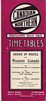 Brochure of the Canadian Northern Railway, 1910, showing the timetables for the Saskatchewan Valley route