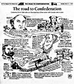 "Cartoon: ""The Road to Confederation"" by Kevin Tobin in ""The Telegram"", March 21, 1999, p.20"