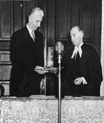 Photograph: Sir Albert Walsh being sworn in as lieutenant-governor.