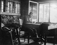 William Lyon Mackenzie King at his desk writing the book Industry and Humanity, 1917