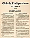 Program of the CLUB DE L'INDÉPENDANCE DU CANADA, listing political resolutions entitled CANADA FOR CANADIANS, ca. 1880-1889