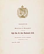 Page titre d'une brochure intitulée INAUGURATION OF MONTREAL'S MONUMENT TO THE LATE RIGHT�HON. SIR�JOHN�MACDONALD, G.C.B., BY HIS EXCELLENCY THE EARL�OF�ABERDEEN, GOVERNOR-GENERAL OF CANADA, JUNE 6TH, 1895, Montréal, s.l.,�1895