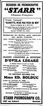 Newspaper ad for recordings by La Bolduc and Ovila Légaré