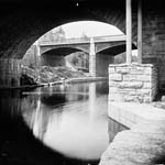 Photograph of the Rideau Canal, taken from under Sapper's Bridge, Ottawa, circa 1875-1880