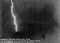 Photograph showing lightning over a house at night, Yorkton, Saskatchewan, 1903