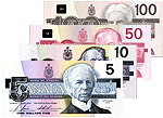 Bills bearing portraits of Laurier, Macdonald, Mackenzie King and Borden.