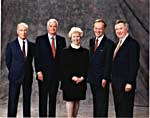 Photograph of Pierre Trudeau, John Turner, Kim Campbell, Jean Chrétien and Joe Clark, October 24, 1994