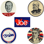 Assorted election campaign buttons.