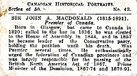 Trading card (back): John A. Macdonald.