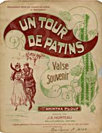 Illustrated cover of the sheet music for UN TOUR DE PATINS, by Amintha Plouf