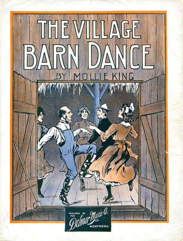 Image en couleur, montrant des gens qui dansent dans une grange.